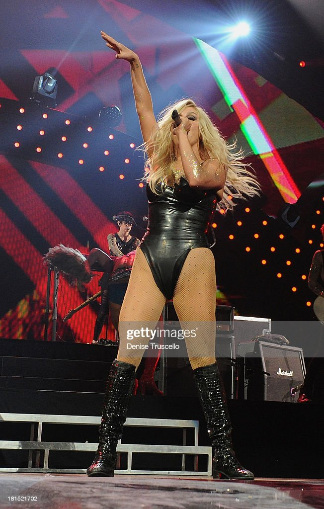 Singer Ke$ha performs onstage during the iHeartRadio Music Festival at the MGM Grand Garden Arena on September 21, 2013 in Las Vegas, Nevada.