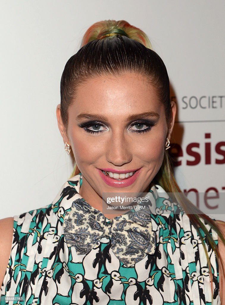 Singer Ke$ha poses backstage at The Humane Society of the United States 2013 Genesis Awards Benefit Gala at The Beverly Hilton Hotel on March 23, 2013 in Los Angeles, California.