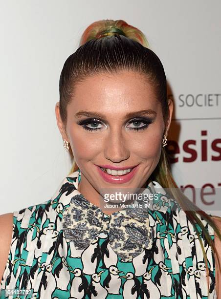 Singer Ke$ha poses backstage at The Humane Society of the United States 2013 Genesis Awards Benefit Gala at The Beverly Hilton Hotel on March 23 2013...
