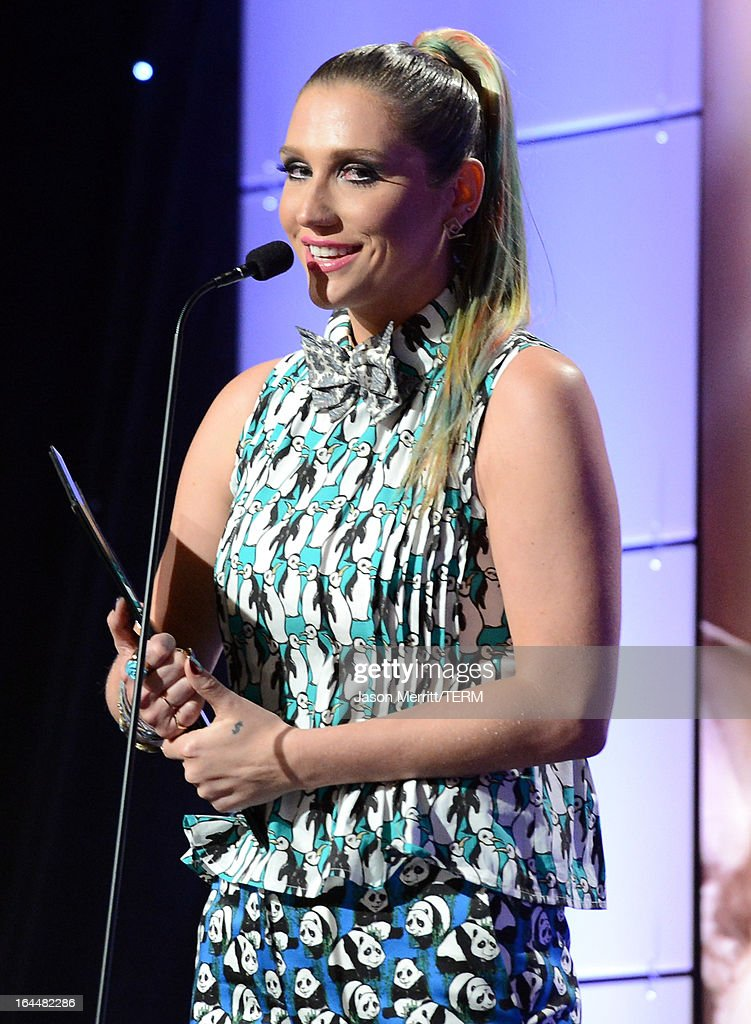 Singer <a gi-track='captionPersonalityLinkClicked' href=/galleries/search?phrase=Ke%24ha&family=editorial&specificpeople=6718222 ng-click='$event.stopPropagation()'>Ke$ha</a> receives The Wyler Award onstage at The Humane Society of the United States 2013 Genesis Awards Benefit Gala at The Beverly Hilton Hotel on March 23, 2013 in Los Angeles, California.