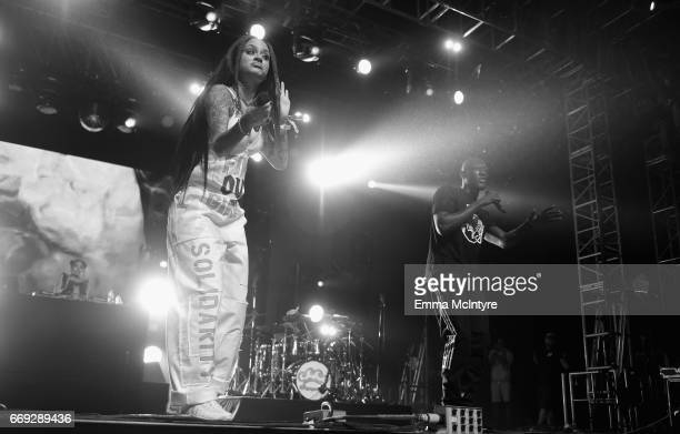 Singer Kehlani and rapper Stormzy perform on the Mojave stage during day 3 of the Coachella Valley Music And Arts Festival at the Empire Polo Club on...