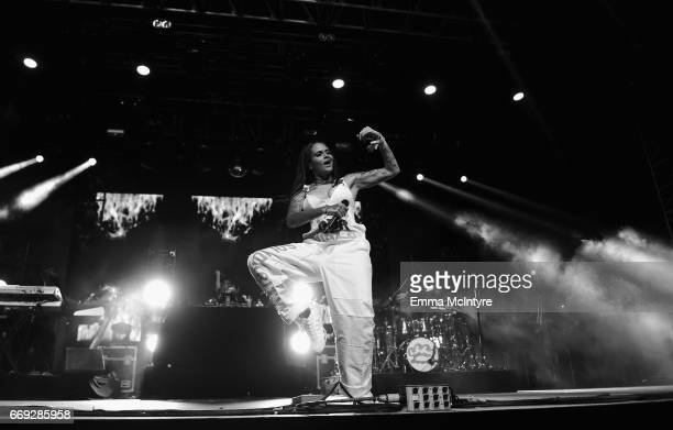 Singer Kehlani performs on the Mojave stage during day 3 of the Coachella Valley Music And Arts Festival at the Empire Polo Club on April 16 2017 in...