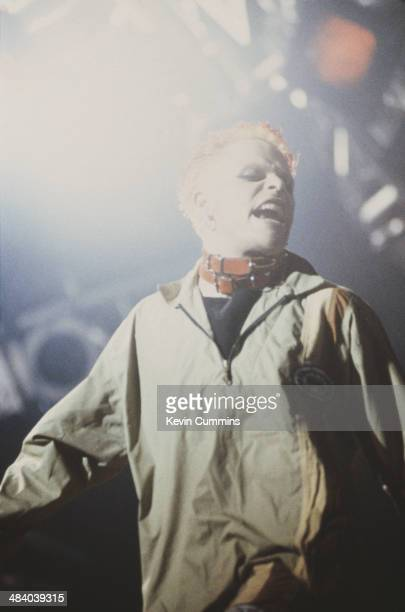 Singer Keith Flint performing with English electronic music group The Prodigy on the NME stage at the Glastonbury Festival 23rd June 1995
