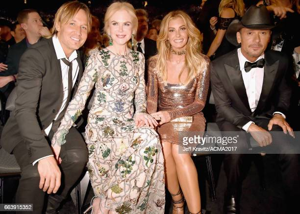 Singer Keith Urban actor Nicole Kidman and singers Faith Hill and Tim McGraw attend the 52nd Academy Of Country Music Awards at TMobile Arena on...