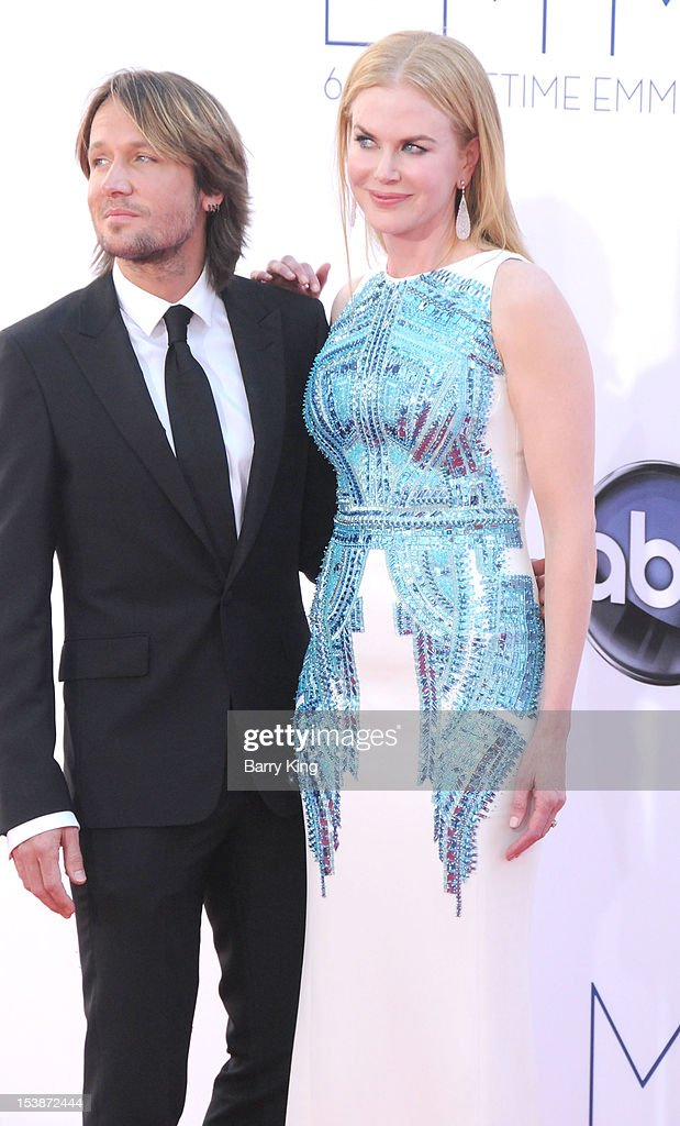 Singer Keith Urban and actress Nicole Kidman arrive at the 64th Primetime Emmy Awards at Nokia Theatre L.A. Live on September 23, 2012 in Los Angeles, California.