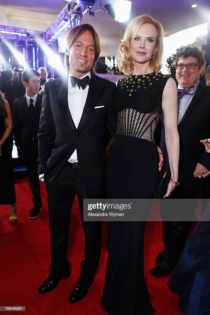 Singer Keith Urban (L) and actress Nicole Kidman arrive at the 70th Annual Golden Globe Awards held at The Beverly Hilton Hotel on January 13, 2013 in Beverly Hills, California.