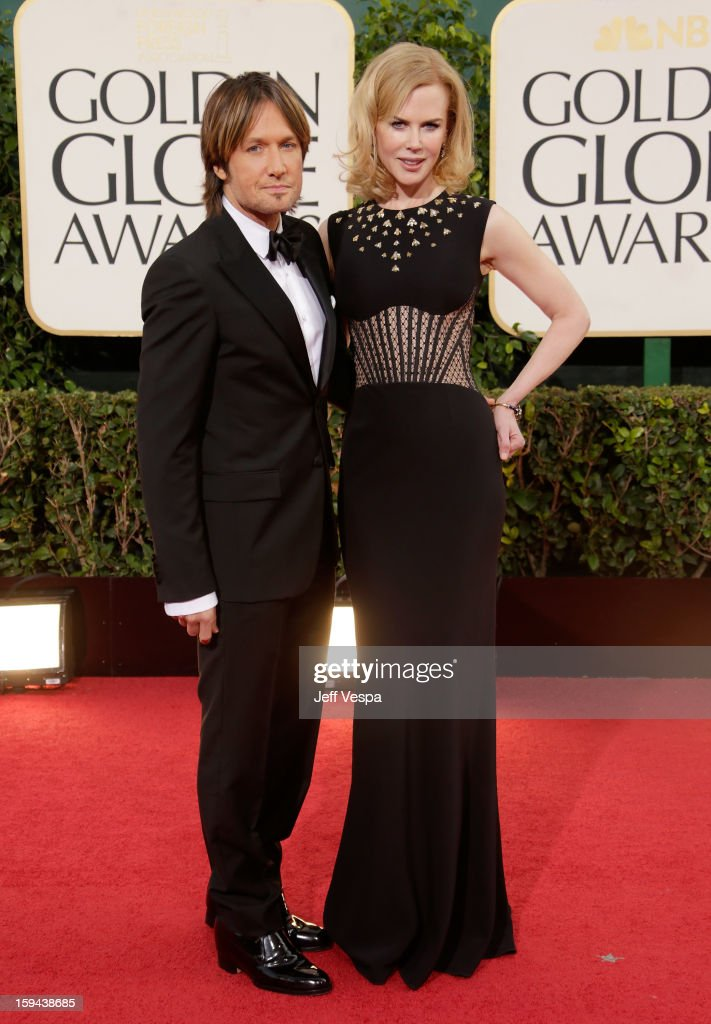 Singer Keith Urban and actress Nicole Kidman arrive at the 70th Annual Golden Globe Awards held at The Beverly Hilton Hotel on January 13, 2013 in Beverly Hills, California.