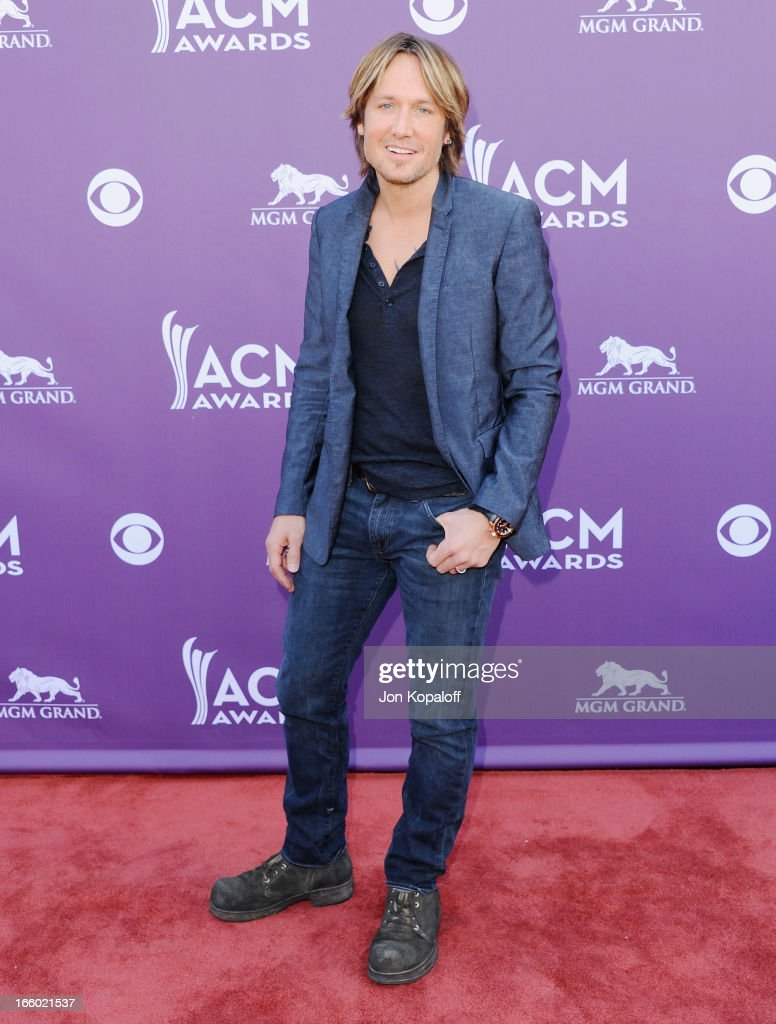 Singer Keith Urban arrives at the 48th Annual Academy Of Country Music Awards at MGM Grand Garden Arena on April 7, 2013 in Las Vegas, Nevada.
