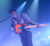 Singer Kele Okereke of the band Bloc Party performs at Terminal 5 on August 7 2012 in New York City