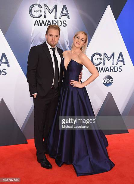 Singer Kellie Pickler and Kyle Jacobs attend the 49th annual CMA Awards at the Bridgestone Arena on November 4 2015 in Nashville Tennessee