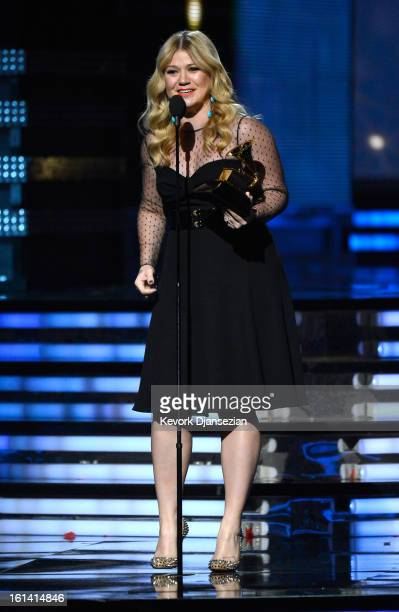 Singer Kelly Clarkson accepts Best Pop Vocal Album award for 'Stronger' onstage at the 55th Annual GRAMMY Awards at Staples Center on February 10...