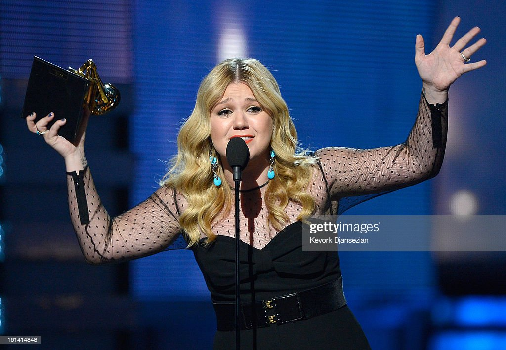 Singer <a gi-track='captionPersonalityLinkClicked' href=/galleries/search?phrase=Kelly+Clarkson&family=editorial&specificpeople=201555 ng-click='$event.stopPropagation()'>Kelly Clarkson</a> accepts Best Pop Vocal Album award for 'Stronger' onstage at the 55th Annual GRAMMY Awards at Staples Center on February 10, 2013 in Los Angeles, California.