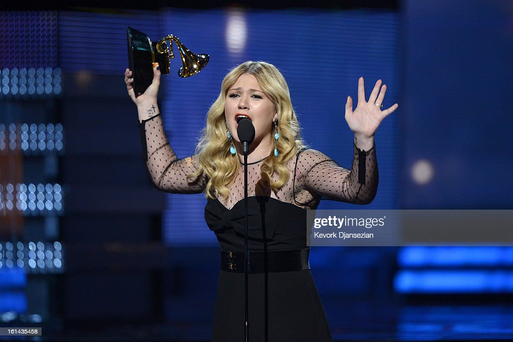 Singer Kelly Clarkson accepts Best Pop Vocal Album award for 'Stronger' onstage at the 55th Annual GRAMMY Awards at Staples Center on February 10, 2013 in Los Angeles, California.