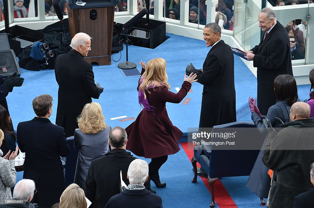 Singer Kelly Clarkson after she performed 'God Bless America' during the 57th Presidential Inauguration Ceremony at the United States Capitol on Monday, January 21, 2013. President Barack Obama was sworn in for his second term of office.