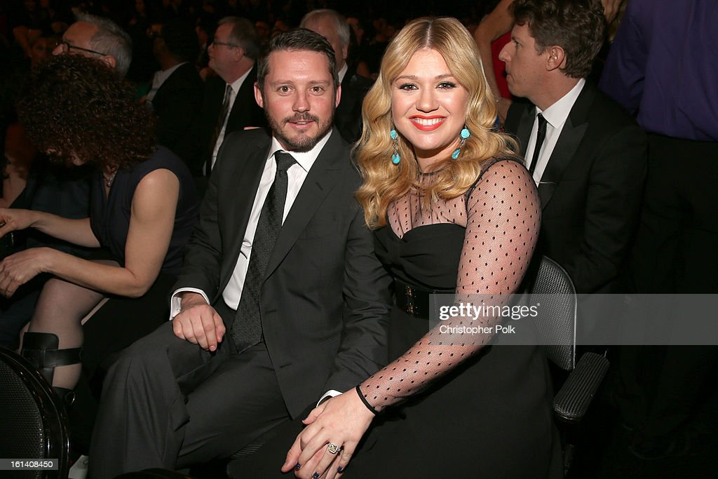 Singer Kelly Clarkson (R) and Brandon Blackstock attend the 55th Annual GRAMMY Awards at STAPLES Center on February 10, 2013 in Los Angeles, California.