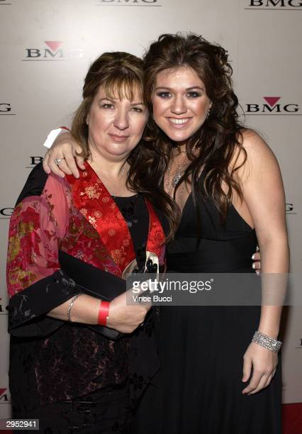 Singer Kelly Clarkson and her mom Jeannie attend the BMG PostGrammy Party following the 46th Annual Grammy Awards at the Avalon on February 8 2004 in...