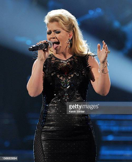 Singer Kelly Clarkson performs onstage during the 40th American Music Awards held at Nokia Theatre LA Live on November 18 2012 in Los Angeles...