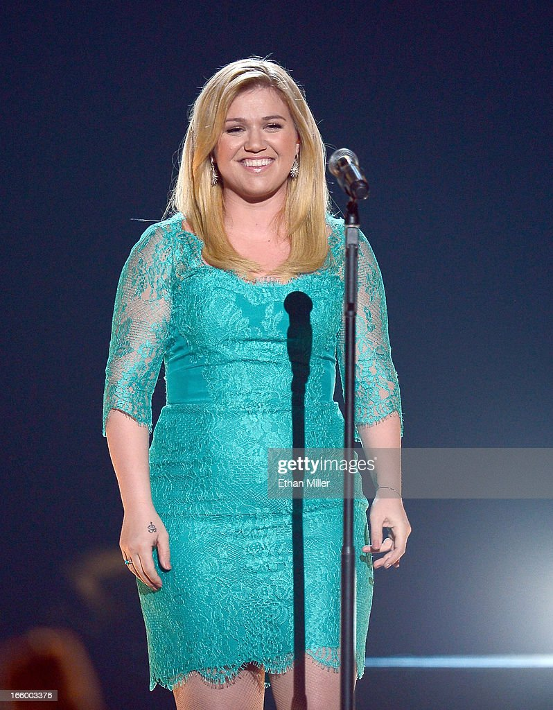 Singer Kelly Clarkson performs onstage during the 48th Annual Academy of Country Music Awards at the MGM Grand Garden Arena on April 7, 2013 in Las Vegas, Nevada.