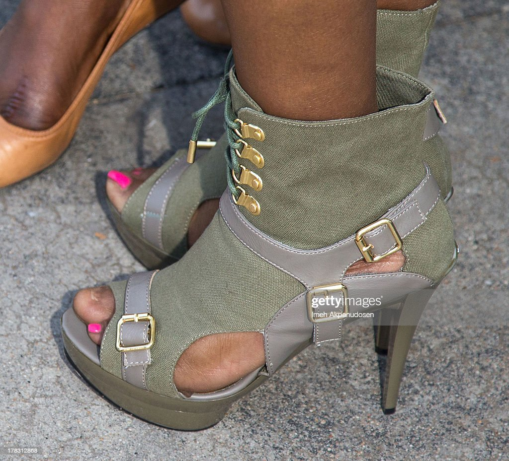 Singer Kelly Price (shoe detail) attends the live casting auditions for the new reality show 'Too Fat For Fame' at The Complex Hollywood on August 28, 2013 in Los Angeles, California.