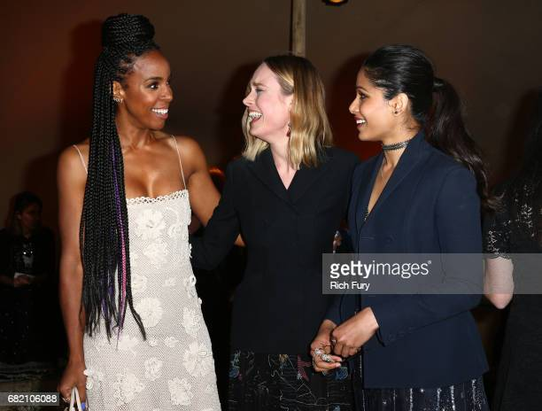 Singer Kelly Rowland actors Brie Larsen and Freida Pinto attend the Christian Dior Cruise 2018 Runway Show at the Upper Las Virgenes Canyon Open...
