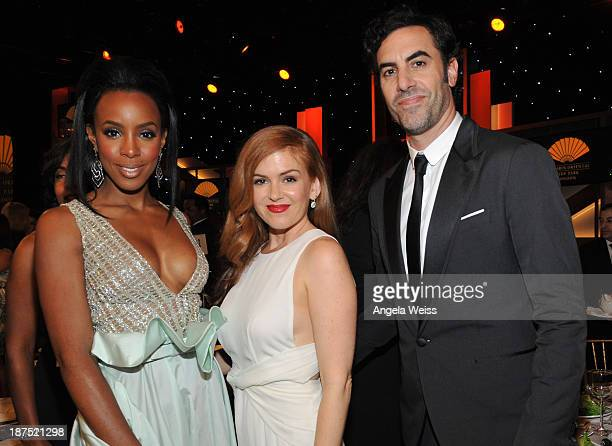 Singer Kelly Rowland actress Isla Fisher and honoree Sacha Baron Cohen attend The 2013 BAFTA LA Jaguar Britannia Awards at The Beverly Hilton Hotel...