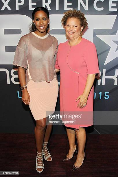 Singer Kelly Rowland and Chairman and Chief Executive Officer of BET Debra Lee attend the BET New York Upfronts on April 23 2015 in New York City