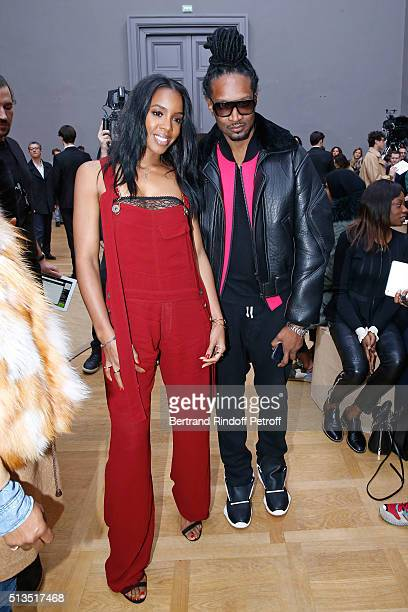 Singer Kelly Rowland and Guest attend the Chloe show as part of the Paris Fashion Week Womenswear Fall/Winter 2016/2017 Held at Grand Palais on March...