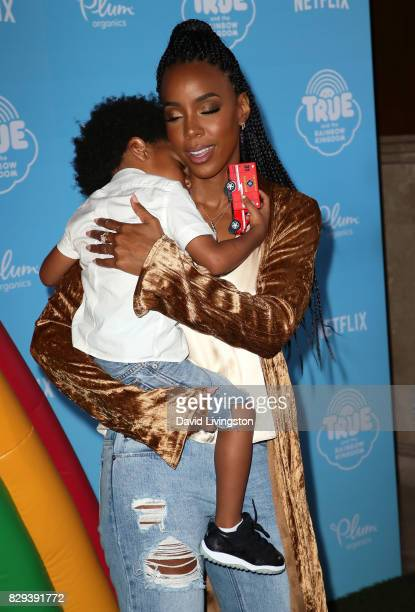 Singer Kelly Rowland and son Titan Jewell Witherspoon attend a sneak peek of Netflix's 'True and the Rainbow Kingdom' at Pacific Theatres at The...