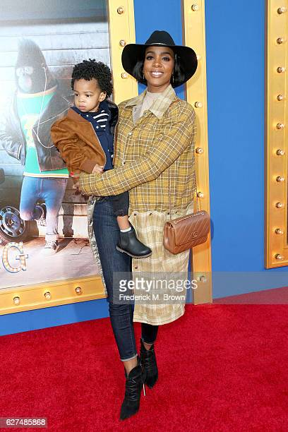 Singer Kelly Rowland and Titan Rowland attend the premiere Of Universal Pictures' 'Sing' on December 3 2016 in Los Angeles California