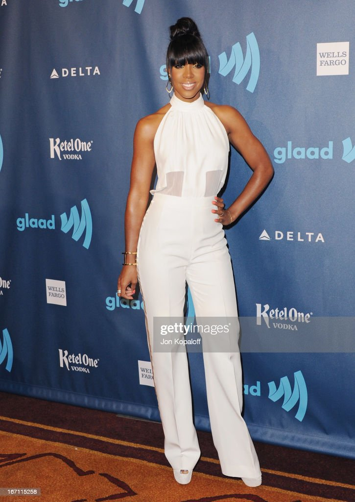 Singer Kelly Rowland arrives at the 24th Annual GLAAD Media Awards at JW Marriott Los Angeles at L.A. LIVE on April 20, 2013 in Los Angeles, California.
