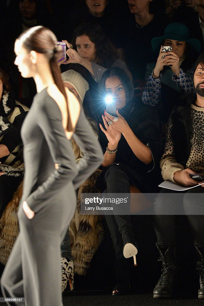 Singer <a gi-track='captionPersonalityLinkClicked' href=/galleries/search?phrase=Kelly+Rowland&family=editorial&specificpeople=201760 ng-click='$event.stopPropagation()'>Kelly Rowland</a> attends the Kaufmanfranco fashion show during Mercedes-Benz Fashion Week Fall 2014 at The Theatre at Lincoln Center on February 12, 2014 in New York City.