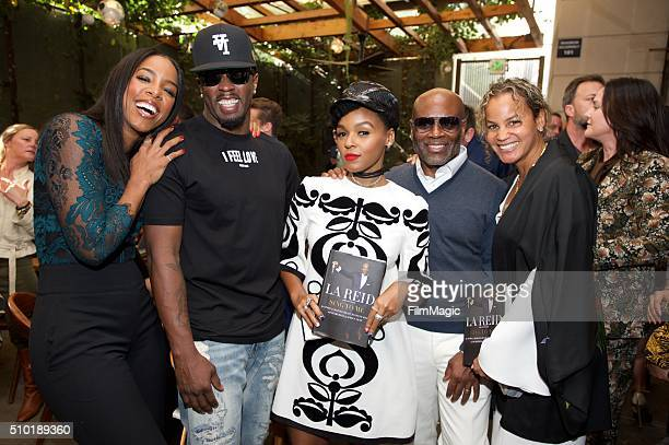 Singer Kelly Rowland Music Executive Sean Combs Singer Janelle Monae Music Executive LA Reid and Erica Reid pose for a photo at the LA Reid 'Sing To...
