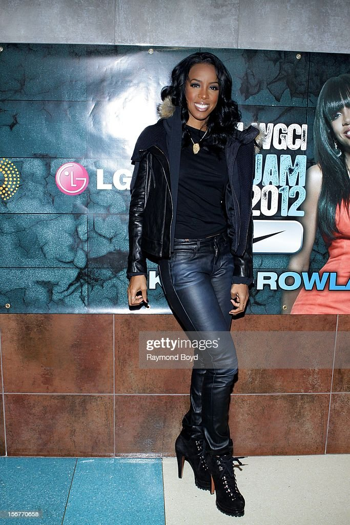 Singer Kelly Rowland, poses for photos before performing during the WGCI-FM 'Big Jam 2012' concert at the Allstate Arena in Rosemont, Illinois in NOVEMBER