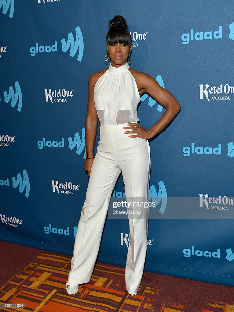 Singer Kelly Rowland poses in the VIP Red Carpet Suite at the 24th Annual GLAAD Media Awards hosted by Ketel One at JW Marriott Los Angeles at L.A. LIVE on April 20, 2013 in Los Angeles, California.
