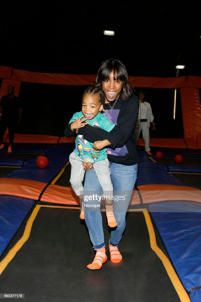 SYDNEY, NSW - (EUROPE AND AUSTRALASIA OUT) Singer Kelly Rowland with her son Titan Jewell Witherspoon enjoys the trampolines at Skyzone in Aleaxandria, Sydney, New South Wales.