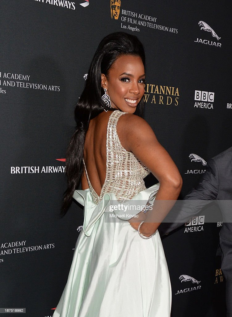 Singer Kelly Rowland with Stylebop.com attends the 2013 BAFTA LA Jaguar Britannia Awards presented by BBC America at The Beverly Hilton Hotel on November 9, 2013 in Beverly Hills, California.