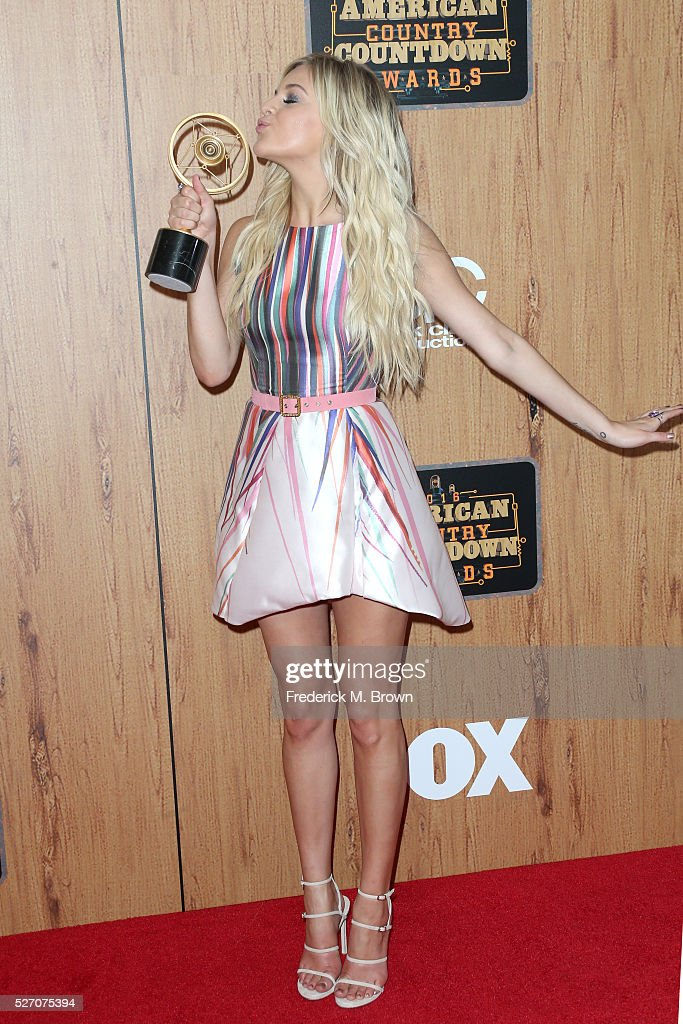 Singer <a gi-track='captionPersonalityLinkClicked' href=/galleries/search?phrase=Kelsea+Ballerini&family=editorial&specificpeople=12614491 ng-click='$event.stopPropagation()'>Kelsea Ballerini</a>, winner of 'Breakthrough Female of the Year,' poses in the press room during the 2016 American Country Countdown Awards at The Forum on May 1, 2016 in Inglewood, California.