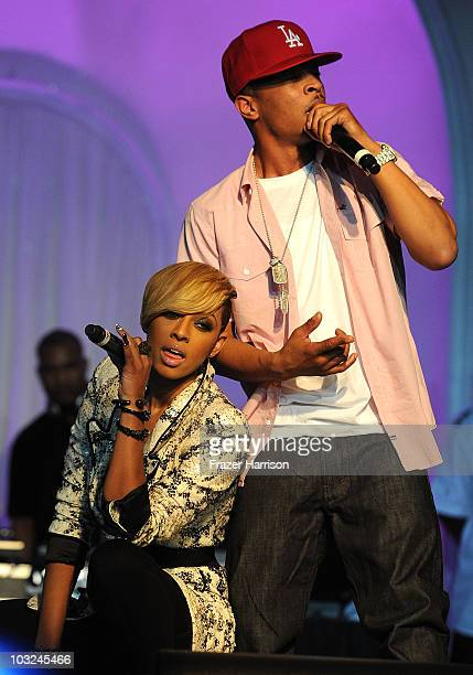 Singer Keri Hilson and rapper TI perform at the premiere after party of Screen Gems' 'Takers' at Boulevard 3 on August 4 2010 in Hollywood California