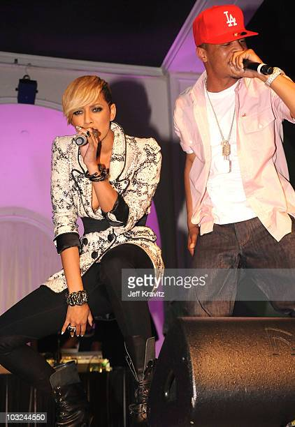 Singer Keri Hilson and rapper TI perform at the 'Takers' Los Angeles Premiere after party held at Boulevard 3 on August 4 2010 in Hollywood California