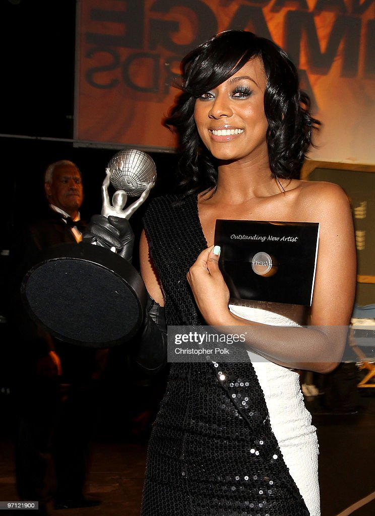 Singer <a gi-track='captionPersonalityLinkClicked' href=/galleries/search?phrase=Keri+Hilson&family=editorial&specificpeople=4340776 ng-click='$event.stopPropagation()'>Keri Hilson</a> backstage with her award for Outstanding New Artist during the 41st NAACP Image awards held at The Shrine Auditorium on February 26, 2010 in Los Angeles, California.