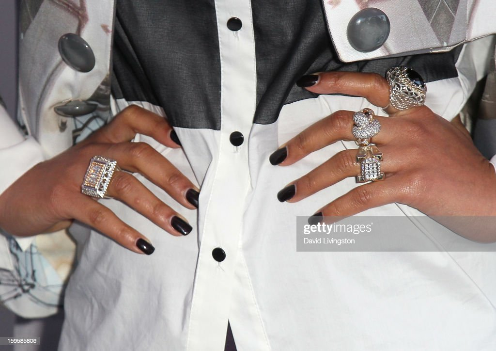 Singer Keri Hilson (ring detail) launches the Gillette 'Kiss & Tell' Experiment on the Santa Monica Pier on January 16, 2013 in Santa Monica, California.