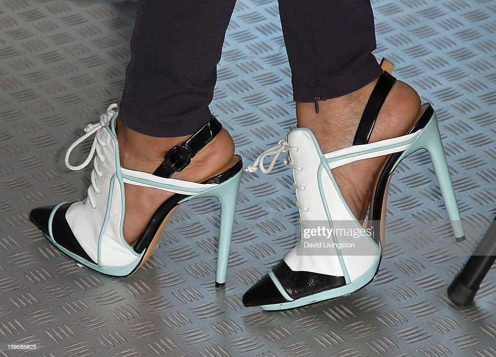 Singer <a gi-track='captionPersonalityLinkClicked' href=/galleries/search?phrase=Keri+Hilson&family=editorial&specificpeople=4340776 ng-click='$event.stopPropagation()'>Keri Hilson</a> (shoe detail) launches the Gillette 'Kiss & Tell' Experiment on the Santa Monica Pier on January 16, 2013 in Santa Monica, California.