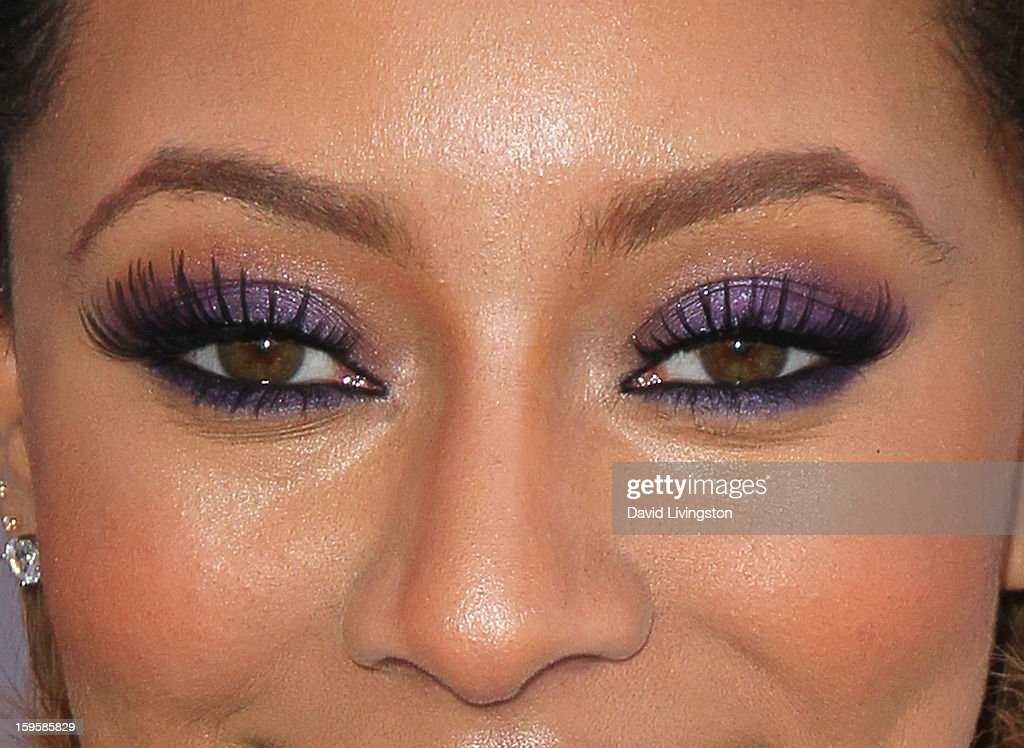 Singer Keri Hilson (eye shadow & lashes detail) launches the Gillette 'Kiss & Tell' Experiment on the Santa Monica Pier on January 16, 2013 in Santa Monica, California.
