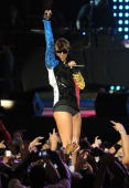 Singer Keri Hilson performs onstage at the Pepsi Super Bowl Fan Jam on February 4 2010 in Miami Beach Florida
