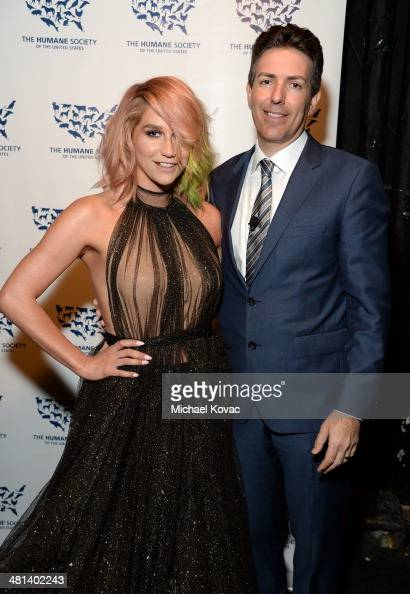 Singer Kesha and President and Chief Executive Officer of the Humane Society of the United States Wayne Pacelle attend the Humane Society of The...