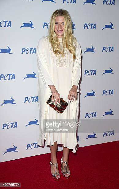 Singer Kesha arrives at PETA's 35th Anniversary Party at Hollywood Palladium on September 30 2015 in Los Angeles California