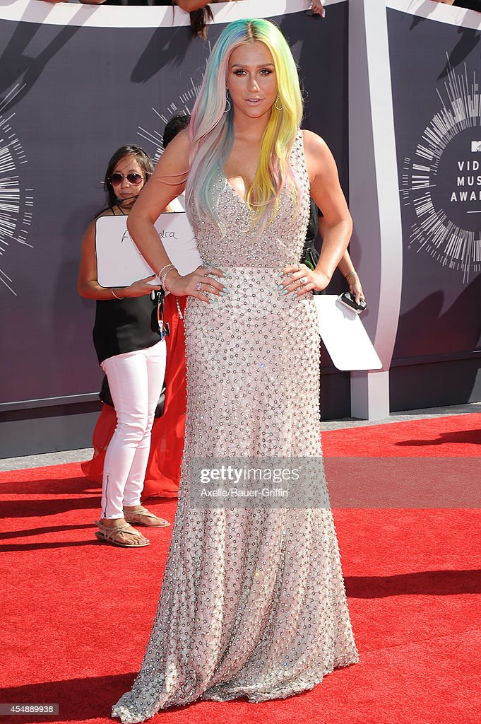 Singer Kesha arrives at the 2014 MTV Video Music Awards at The Forum on August 24 2014 in Inglewood California