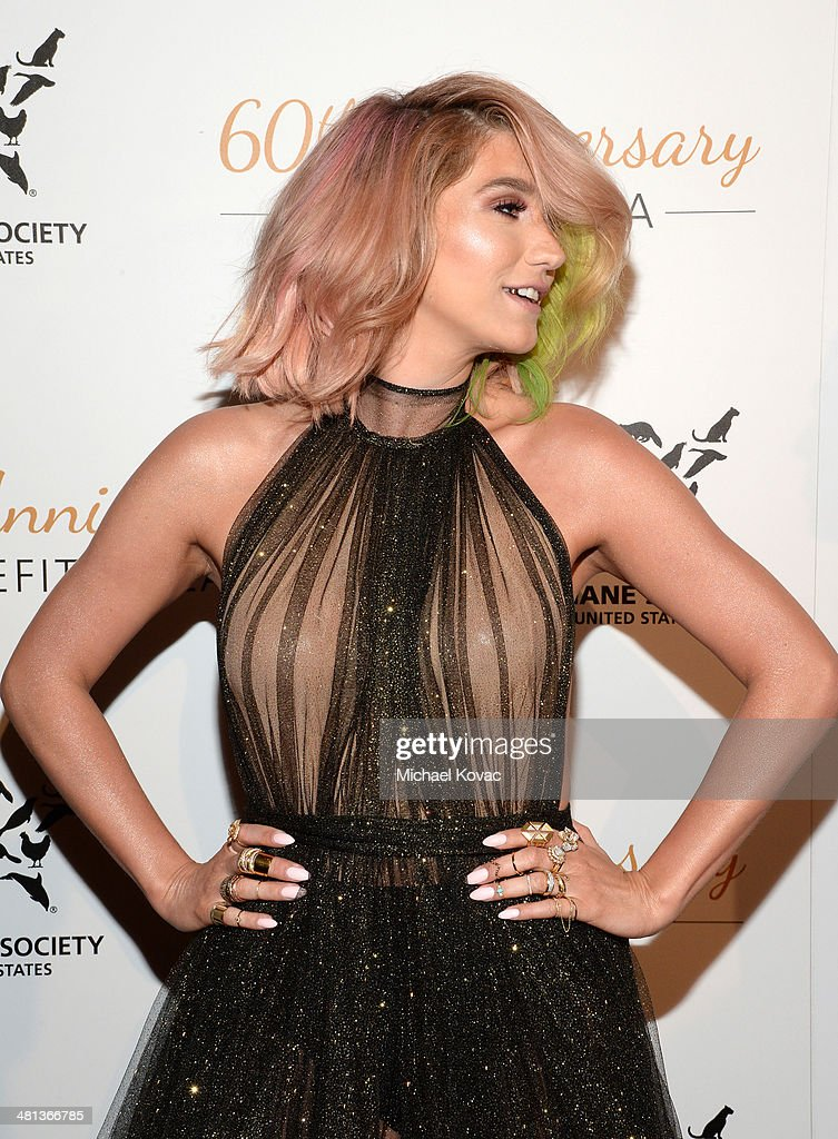 Singer Kesha attends the Humane Society of The United States 60th Anniversary Gala at The Beverly Hilton Hotel on March 29 2014 in Beverly Hills...