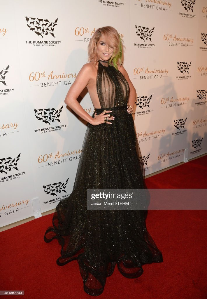 Singer Kesha attends the Humane Society of The United States 60th Anniversary Gala at The Beverly Hilton Hotel on March 29, 2014 in Beverly Hills, California.