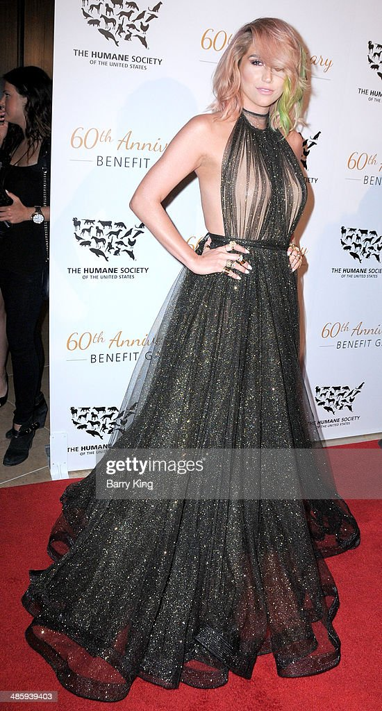Singer Kesha attends the Humane Society Of The United States 60th Anniversary Benefit Gala on March 29, 2014 at The Beverly Hilton Hotel in Beverly Hills, California.